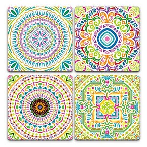 Colourful Mandala Pack | Set of 4 | Coasters