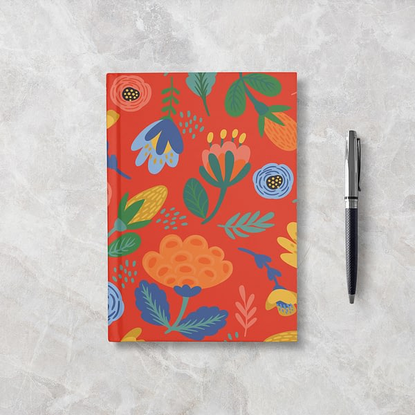 Orange Flowers Softcover Notebook - Blank